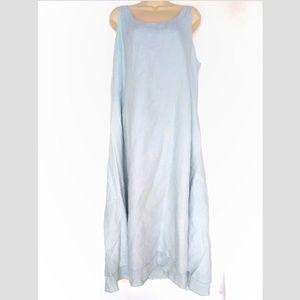 Eileen Fisher Sky Blue Organic Linen Sz L Dress